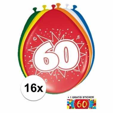 Versiering 60 jaar ballonnen 30 cm 16x + sticker