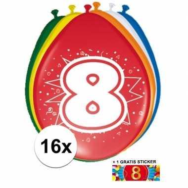Versiering 8 jaar ballonnen 30 cm 16x sticker