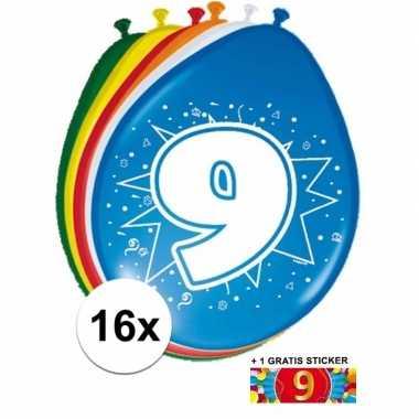 Versiering 9 jaar ballonnen 30 cm 16x + sticker