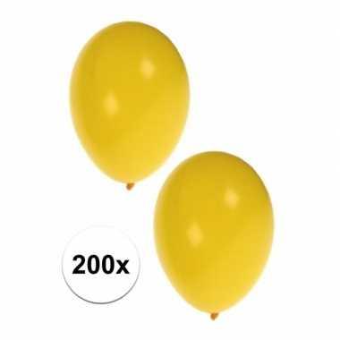 Versiering ballonnen geel 200 stuks