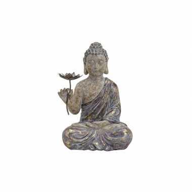 Versiering beeld boeddha met bloem 48 cm