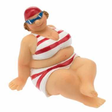 Versiering beeld dikke dame 4 cm in rood witte bikini