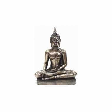 Versiering beeld zilverkleurig boeddha 31 cm