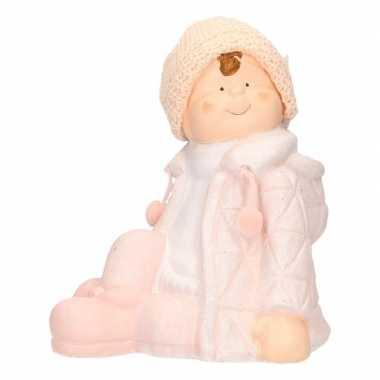 Versiering beeldje kind jongen in winterkleding 25 cm