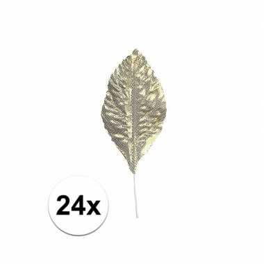Versiering bladeren goud 24 stuks