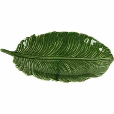 Versiering bord/schaal groen blad van porselein 24 cm