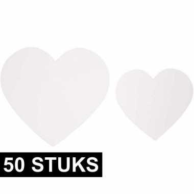 Versiering bruiloft hartjes van karton 50x
