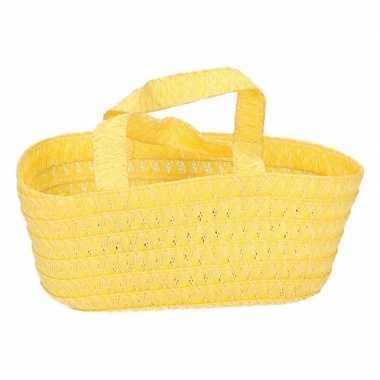 Versiering cadeau mandje geel 24 cm