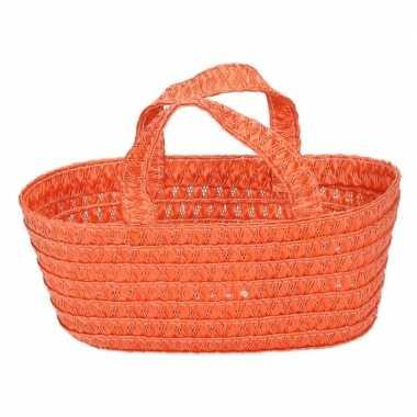 Versiering cadeau mandje oranje 24 cm