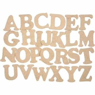 Versiering houten alfabet letters set 52 stuks