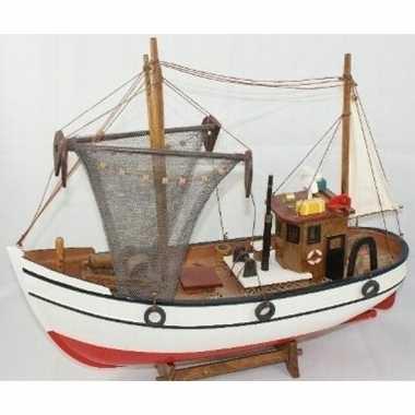 Versiering houten model kotter/zeilboot 39 cm