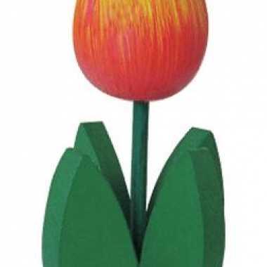 Versiering houten oranje tulpen