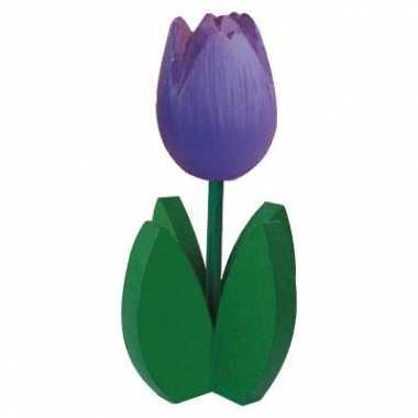 Versiering houten paarse tulpen