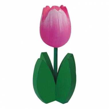 Versiering houten roze tulpen