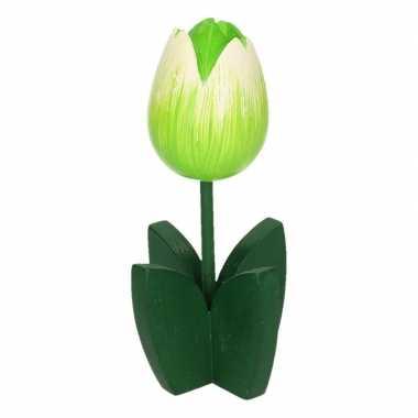 Versiering houten witte tulpen