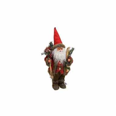 Versiering kerstman met ski 47 cm