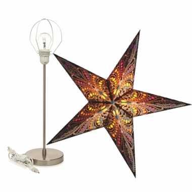 Versiering kerstster java 60 cm inclusief tafellamp/lamp standaard