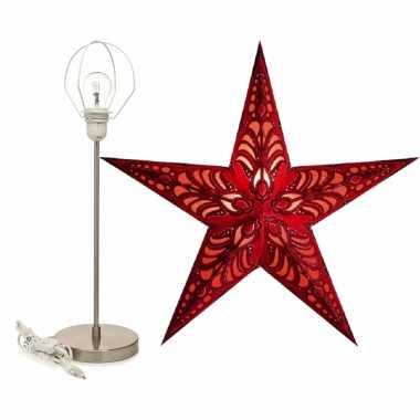 Versiering kerstster rood 60 cm inclusief tafellamp/lamp standaard