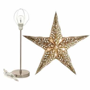 Versiering kerstster wit/goud 60 cm inclusief tafellamp/lamp standaard