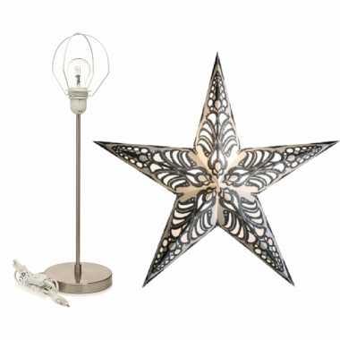 Versiering kerstster wit/zilver 60 cm inclusief tafellamp/lamp standaard