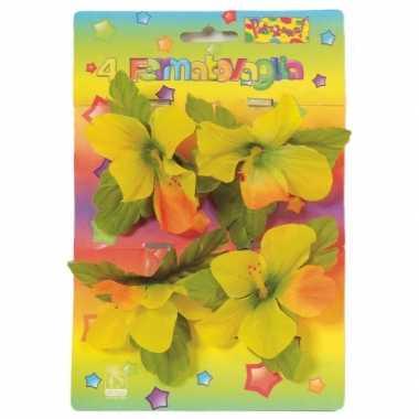 Versiering klemmetjes met bloemen voor tafelkleed 4 stuks