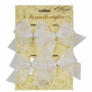 Versiering klemmetjes met strik voor tafelkleed 4 stuks