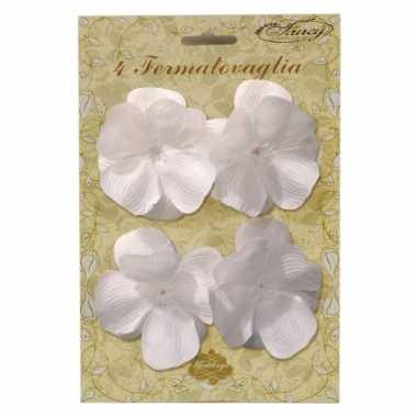 Versiering klemmetjes met witte bloemen voor tafelkleed 4 stuks