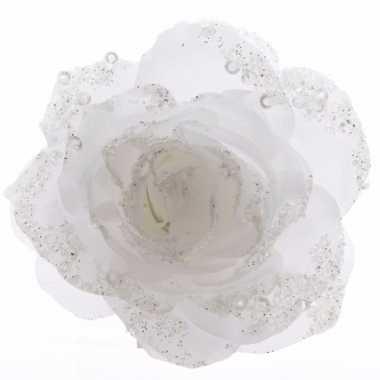 Versiering kunstbloem roos bloem winter wit 14 cm