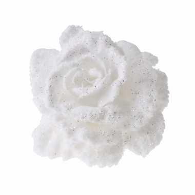Versiering kunstbloem roos wit 10 cm