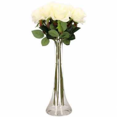 Verwonderend Versiering kunstbloemen 10 witte rozen met vaas | Versiering.net DZ-13
