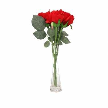 Versiering kunstbloemen 3 rode rozen met vaas