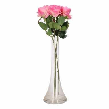 Versiering kunstbloemen 3 roze rozen met vaas