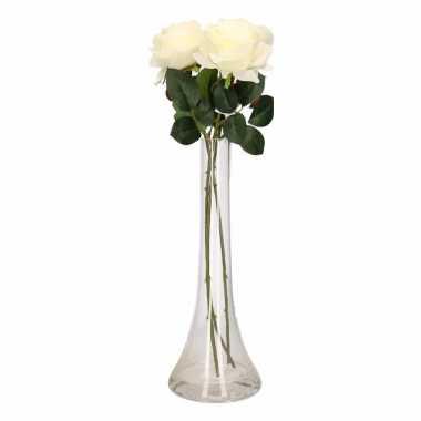 Versiering kunstbloemen 3 witte rozen met vaas