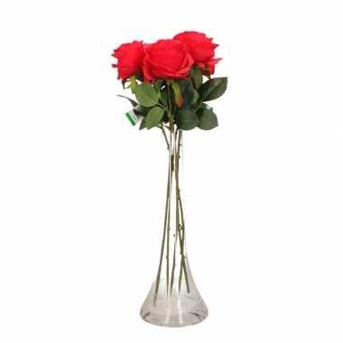 Versiering kunstbloemen 5 rode rozen met vaas