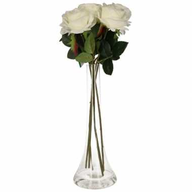 Versiering kunstbloemen 5 witte rozen met vaas