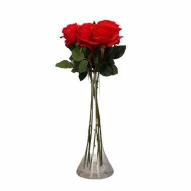 Versiering kunstbloemen 6 rode rozen met vaas