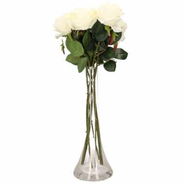 Versiering kunstbloemen 6 witte rozen met vaas