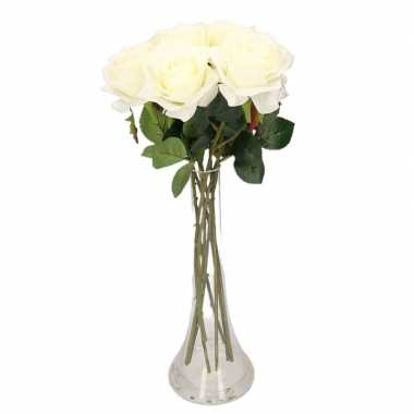 Versiering kunstbloemen 8 witte rozen met vaas