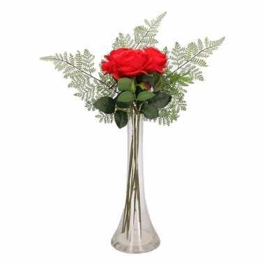 Versiering kunstbloemen rode rozen boeketje met vaas