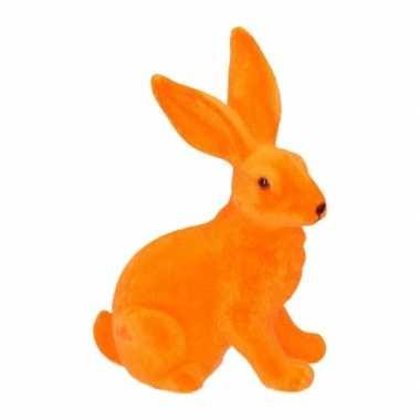 Versiering paashazen oranje 23 cm