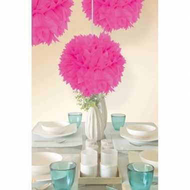 Versiering pompoms neon roze 30 cm