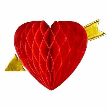 Versiering rood hart met pijl 13 cm
