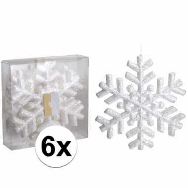 Versiering sneeuwvlokken 6 stuks 20 cm