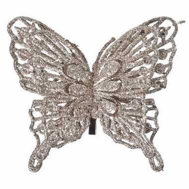 Versiering vlinder champagne 13 x 11 cm