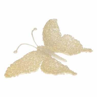Versiering vlinder creme glitter 18 cm
