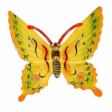 Versiering vlinder geel 11 cm kunststof