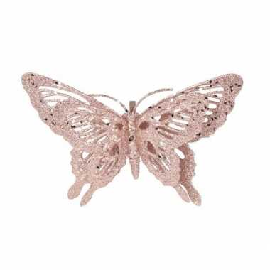 Versiering vlinder roze 15 x 11 cm