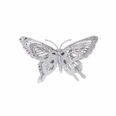 Versiering vlinder zilver 15 x 11 cm