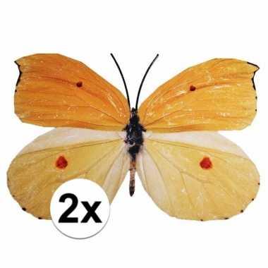 Versiering vlinders 2 stuks geel/oranje 30 x 25 cm
