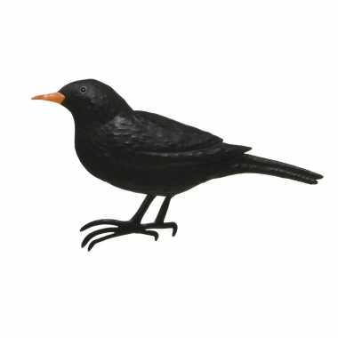 Versiering vogel/muurvogel merel voor in de tuin 38 cm